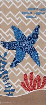 Blue Print Starfish Coral Coastal 28 Inch Kitchen Dish Tea T