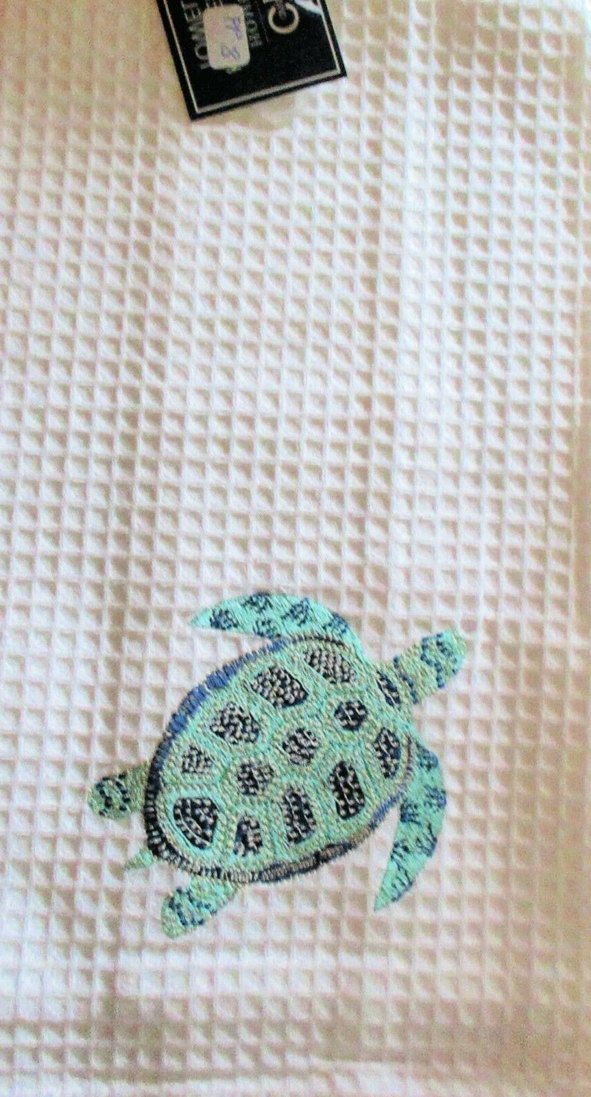 c and f waffle weave towel turtle