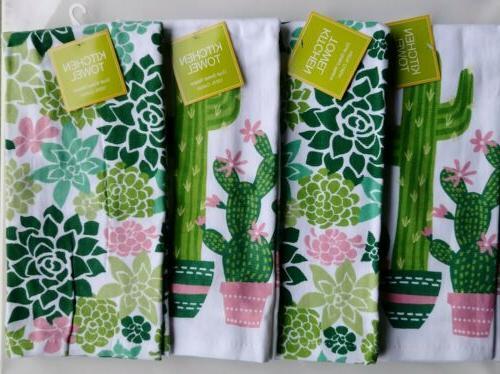 cactus succulent watercolor kitchen towels set of