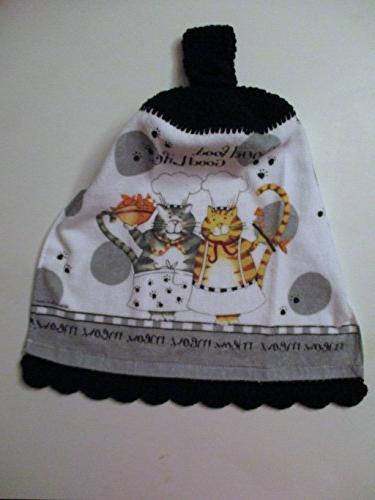 cat crochet hanging kitchen towel