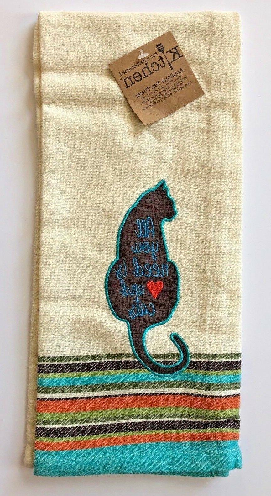 Cat Towel Ivory Cotton Applique Select
