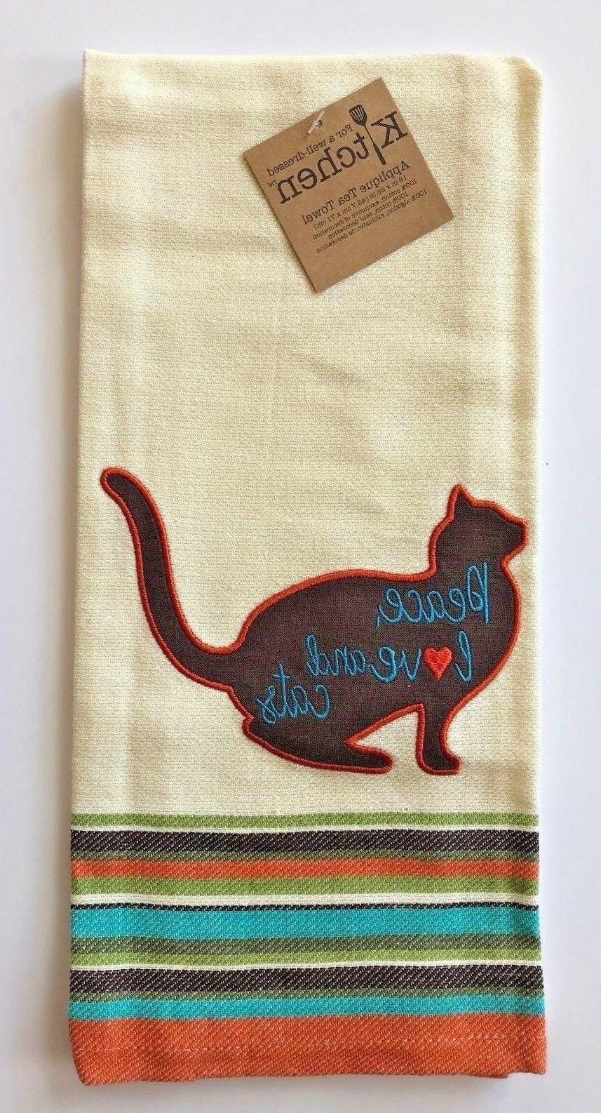 cat kitchen towel ivory cotton applique select