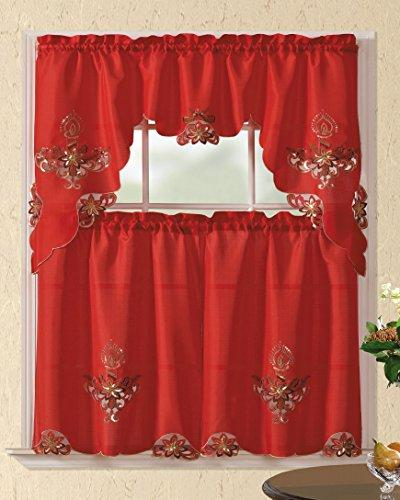 christmas holiday embroidered kitchen curtain