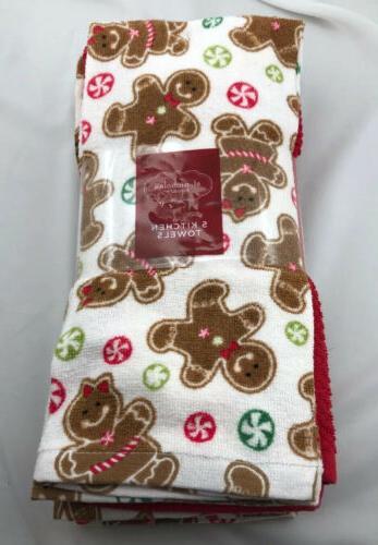 christmas kitchen cotton dish towels gingerbread set