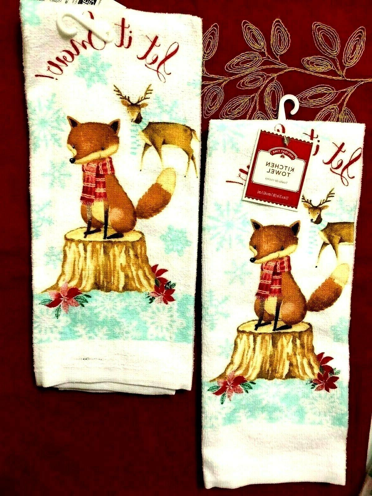 christmas kitchen set dish towels let it
