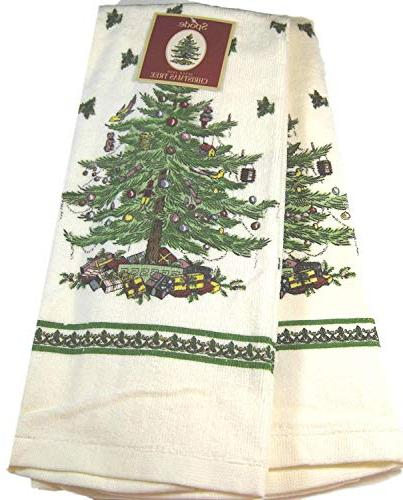 christmas tree kitchen towels linens