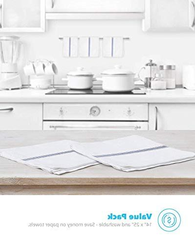 Zeppoli Classic White Kitchen Towels,100/% Natural Cotton Dish Towels,14x25 inch