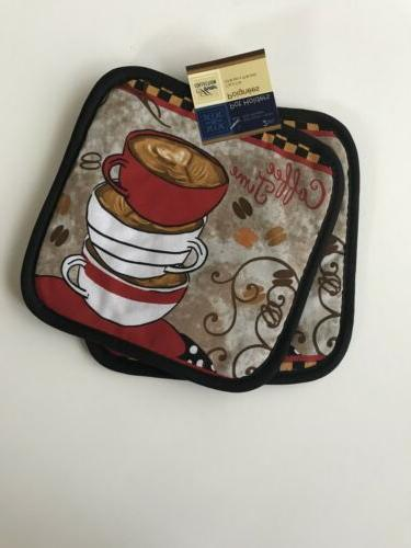 Coffee Time Towels Oven Mitt Pot Set