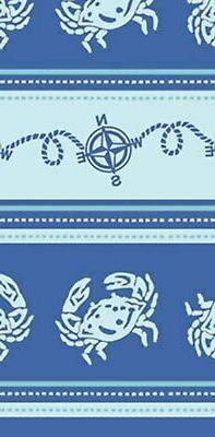Compass Points Blue Crab Kitchen Jacquard Tea Towel 100% Cot