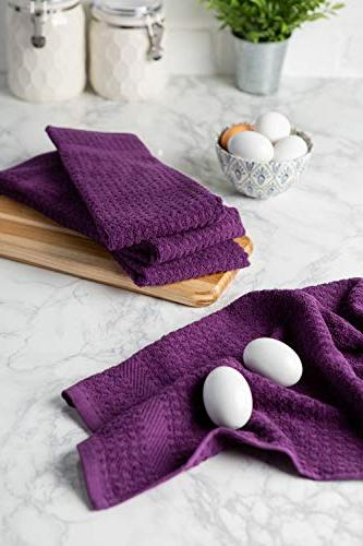 """DII Dish 15 26"""" Set Ultra Absorbent, Heavy Duty, Drying & Kitchen Towels-Eggplant"""