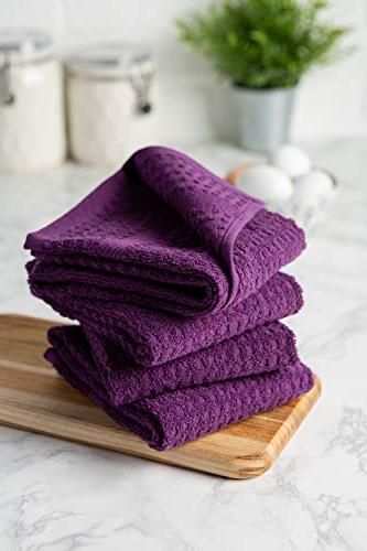 """DII Cotton Terry Dish 15 26"""" of 4, Ultra Duty, Drying Cleaning Kitchen Towels-Eggplant"""