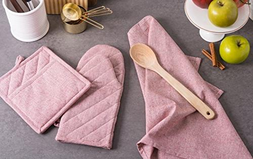 DII Cotton Chambray Dish Towel, Set 3, Towels for Baking-Barn Red