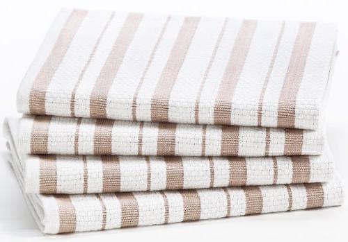 Cotton Craft 4 Pack Basket Weave Kitchen Towels - - Oversized 20x30 - Modern Clean Pattern Convenient
