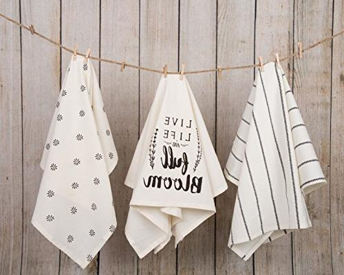 Sticky Cotton Flour Sack Kitchen Live Life and Flower Prints, in x