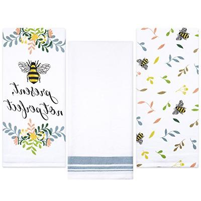 cotton flour sack kitchen towels bee prints