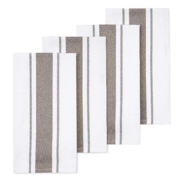 cotton kitchen dish towels striped tan 4