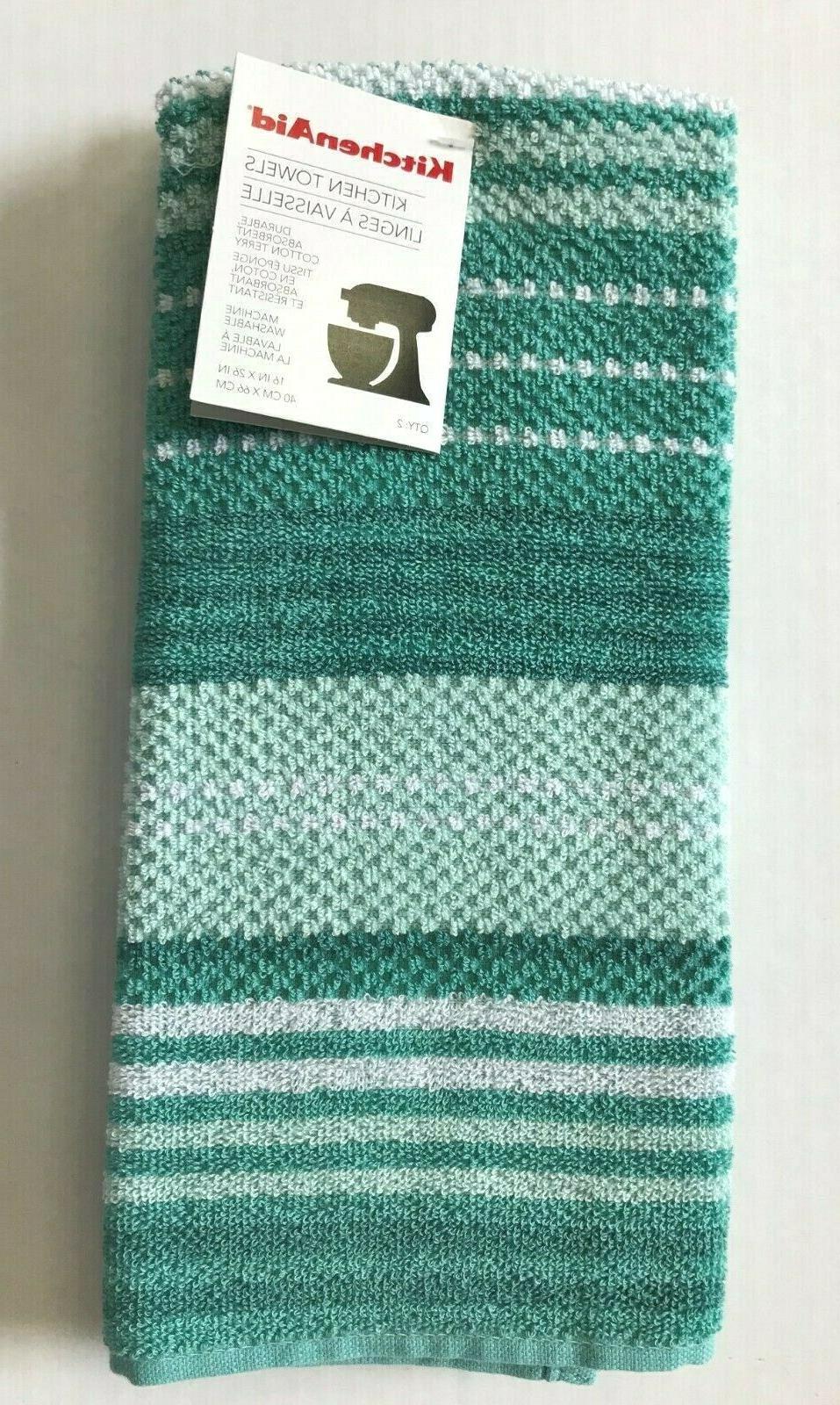 cotton kitchen towels aqua blue