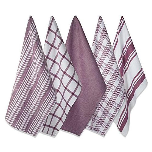 DII Kitchen , Ultra & Fast Cotton Towels Everyday and - Assorted Patterns, Set of 5