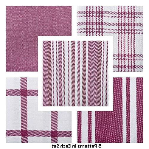DII Kitchen Dish Towels , Ultra Fast Cotton Towels Everyday Cooking Baking - Assorted Patterns, Set of 5
