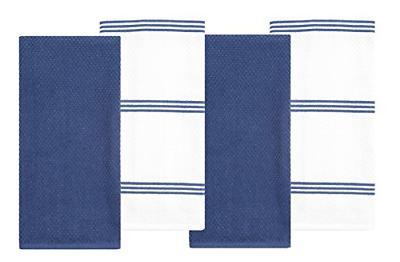 cotton terry kitchen dish towel dark blue