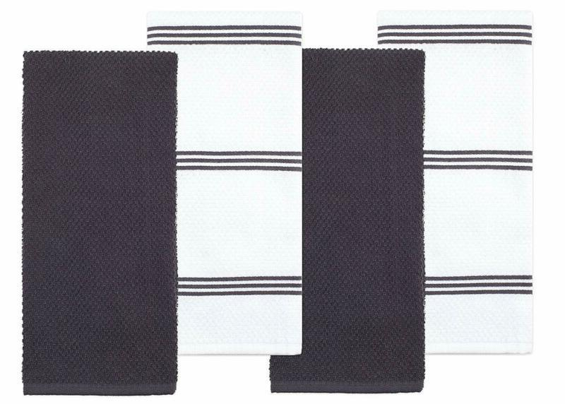 Sticky Toffee Cotton Terry Kitchen Dish Towel, Gray, 4 Pack,