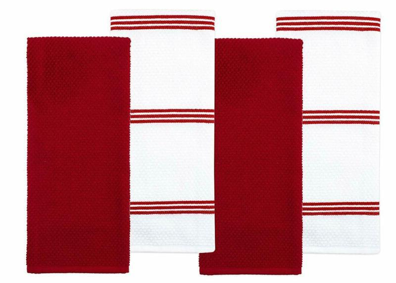 cotton terry kitchen dish towel red 4