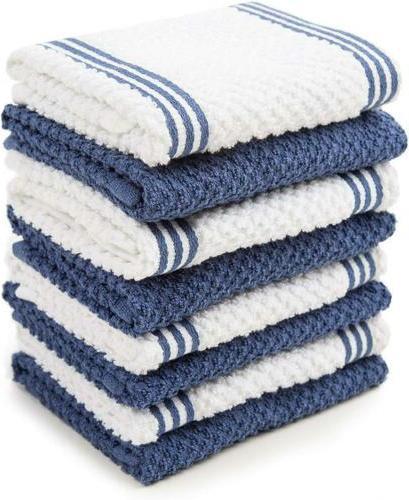 cotton terry kitchen dishcloth dark blue 8