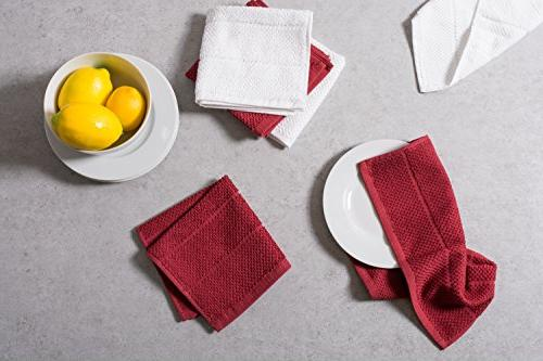 DII Cotton Terry x Set of 6, Kitchen Towels-Barn Red/White