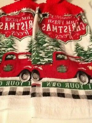 crochet top hanging towels christmas red truck