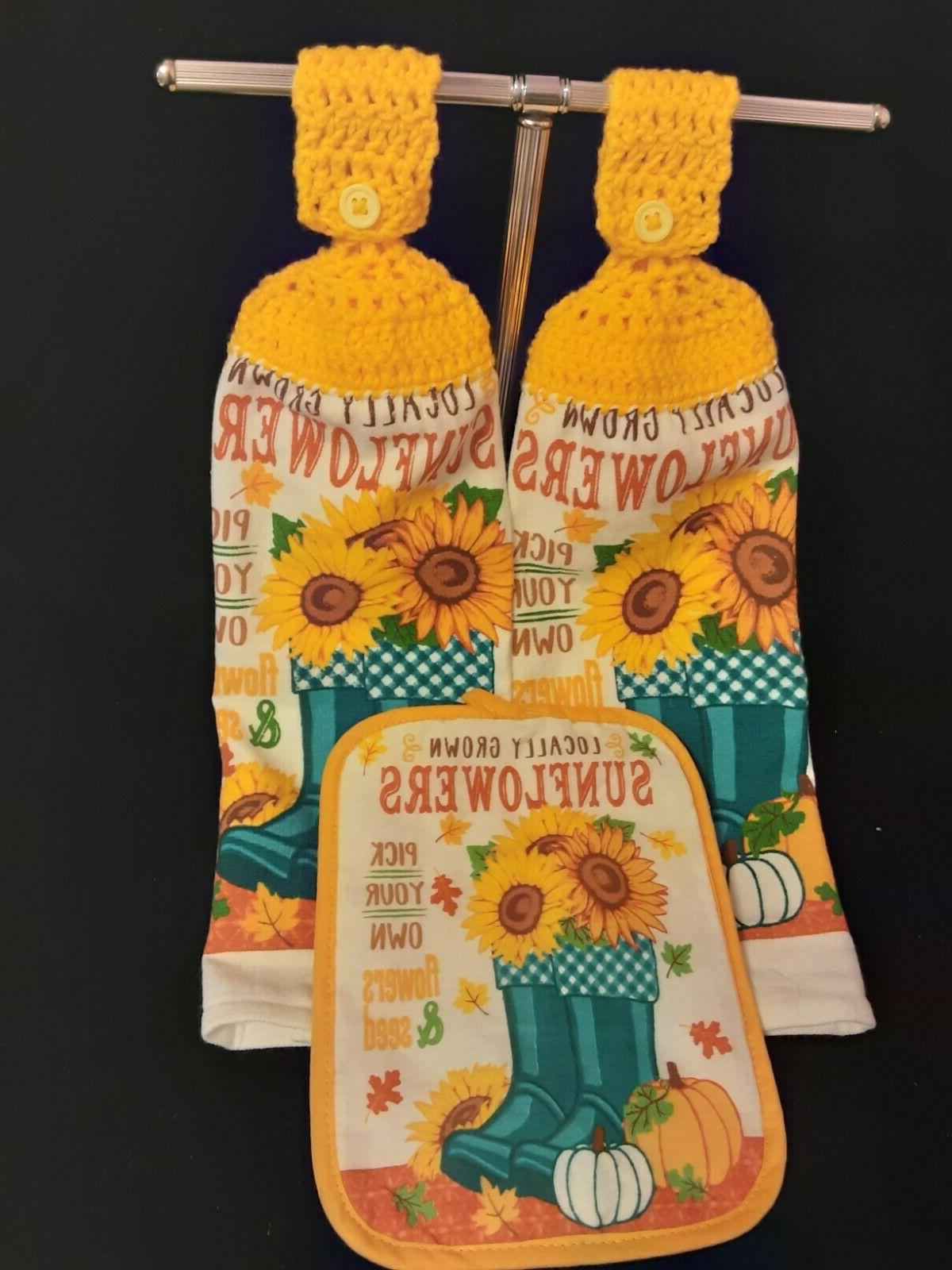 crochet top towels and pot holder sunflowers