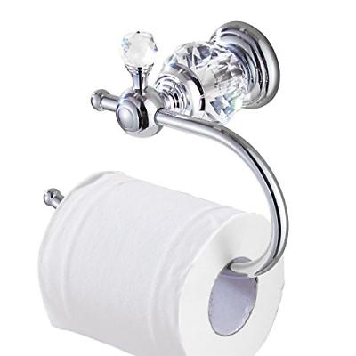 Kabter Crystal Series Brass Toilet Paper Roll Holder, Polish