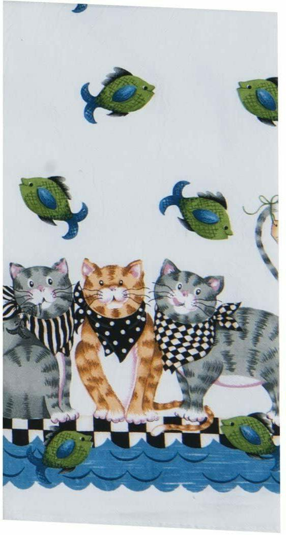 Cat Fish Market Flour Sack Kitchen Dish Hand Towel Cotton by