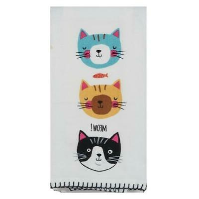 Kay Dee Designs Crazy Cat Flour Sack Towel One Size White/bl