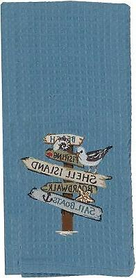 Kay Dee Designs R2938 Beach Signs Embroidered Waffle Towel