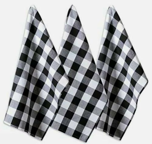 """DII Cotton Buffalo Plaid Towels, 20x30"""" Set 3, Oversized Kitchen Drying, Cleaning Baking-Black"""