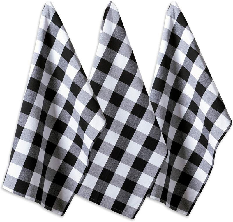 DII Cotton Buffalo Check Plaid Dish Towels,  Monogrammable O