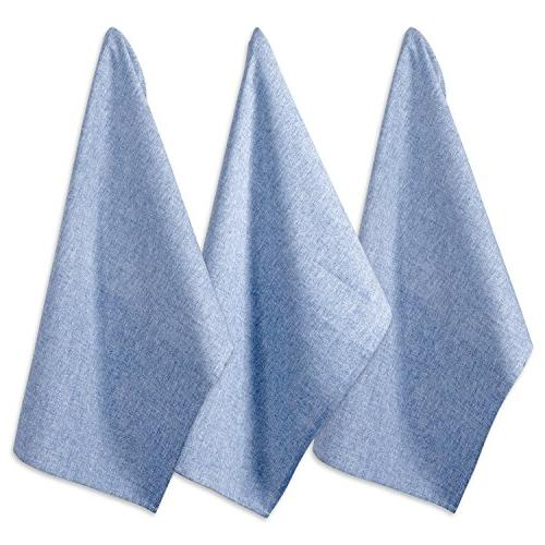 "DII Cotton Dish Towel, 20x30"" Set 3, Oversized Towels for and Baking-Blue"