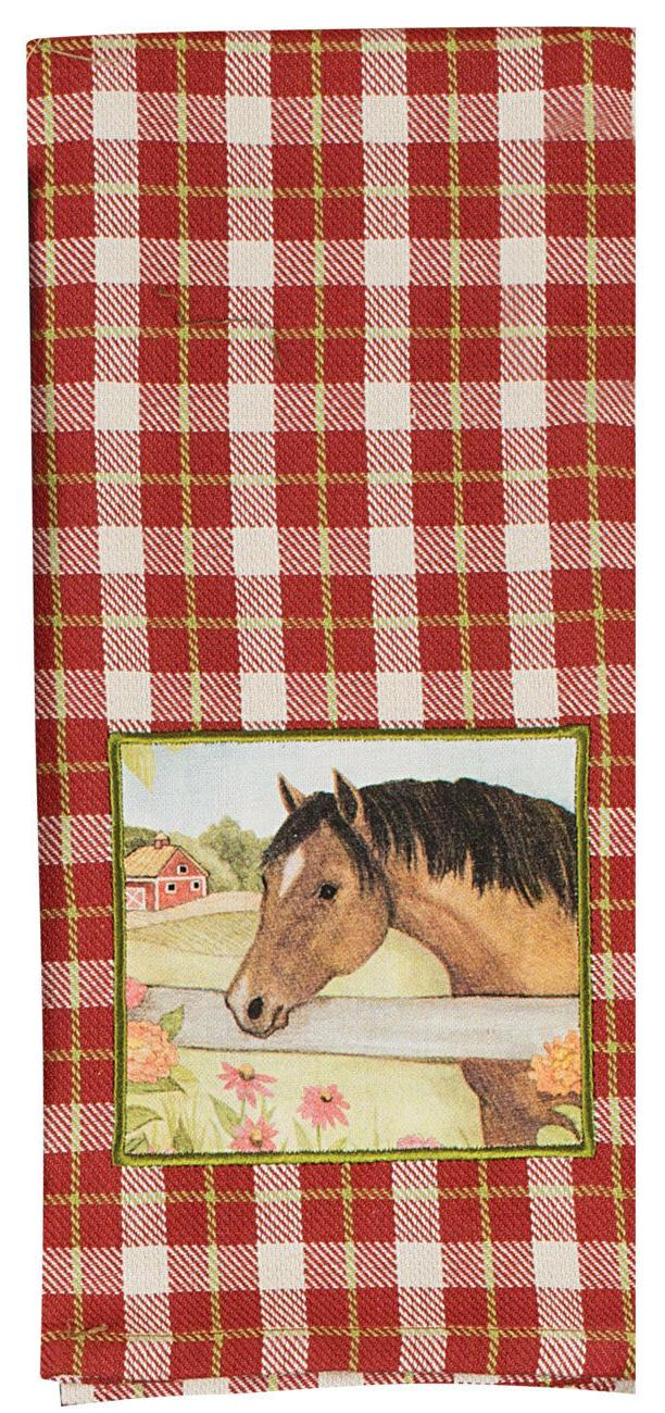 DISH TOWEL - Grace and Beauty Red Plaid Applique- Dishcloth