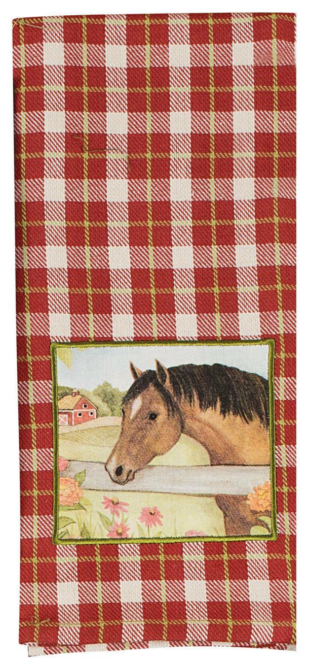 dish towel plaid applique dishcloth