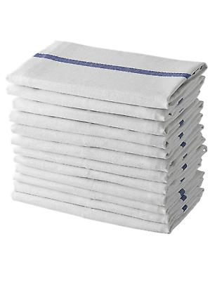 dish towels 12 white cotton blue striped