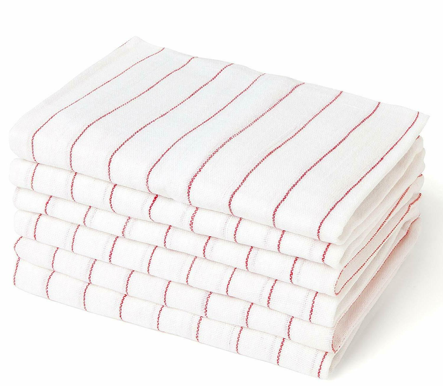 dish towels 24 pcs white cotton stribed