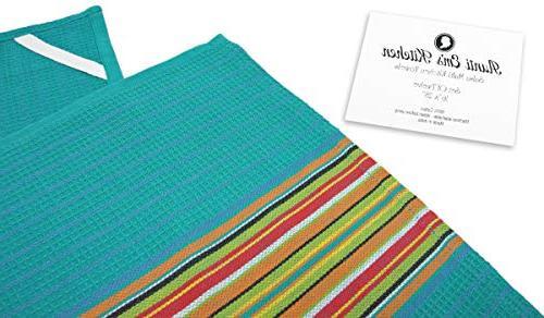 Kitchen Towels Salsa Stripe 100% Absorbent Festive Orange, Green and Blue, 12-Pack