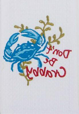 Dont Be Crabby Blue Crab Embroidered Waffle Kitchen Dish Tow