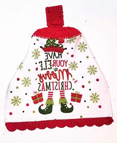 elf merry christmas crochet hanging