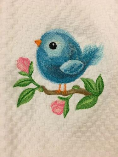 Embroidered Baby Blue Bird White Dish Towel