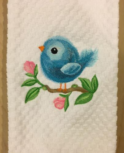 Embroidered Baby Spring Blue White Dish