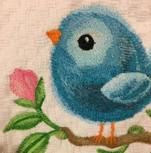Embroidered Cute Baby Blue Bird