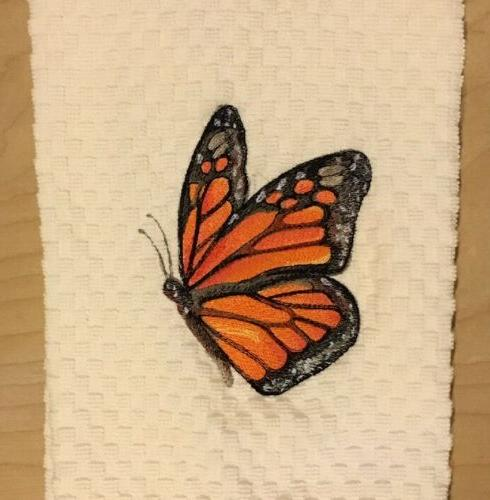 Embroidered Monarch Butterfly Ivory Kitchen Waffle Weave Dis