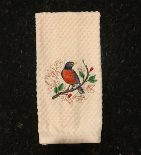 Embroidered Set Birds Cardinal Oriole Kitchen