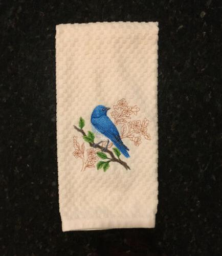 Embroidered Set Birds Oriole Bluebird Goldfinch Kitchen